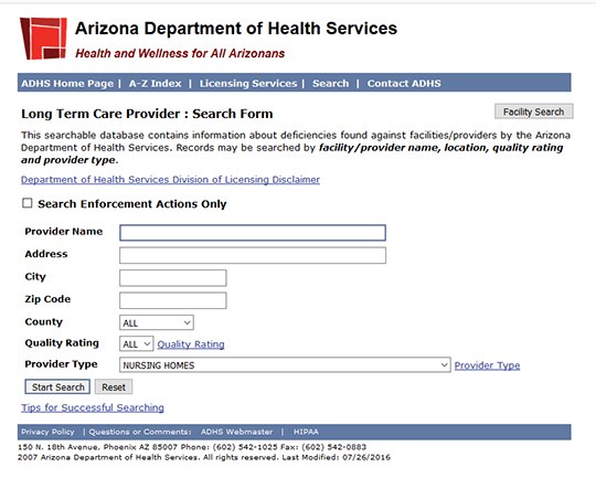 Arizona Nursing Home Ratings Report