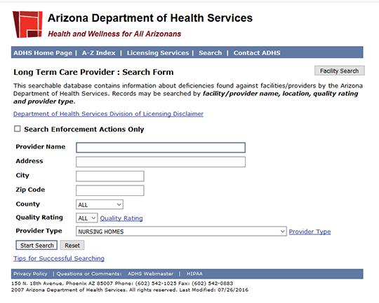 Arizona Nursing Home Ratings Report