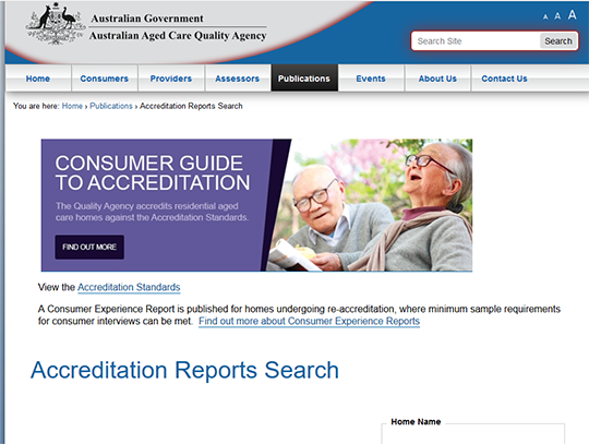 Australia Aged Care Home Accreditation Search