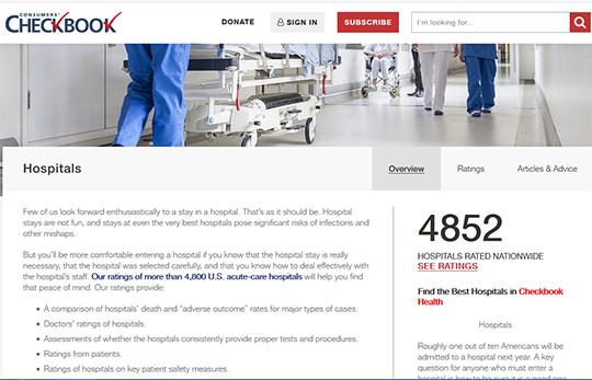 Consumer Checkbook Hospital Ratings