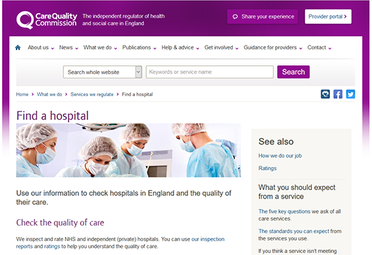 Care Quality Commission Find a Hospital