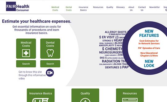 Fair Health Consumer Healthcare Estimates Report Card