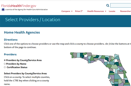 Florida Health Finder Home Health Agency Compare Report Card