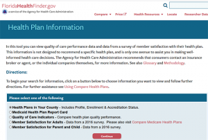 Florida Health Finder Health Plan Compare Report Card
