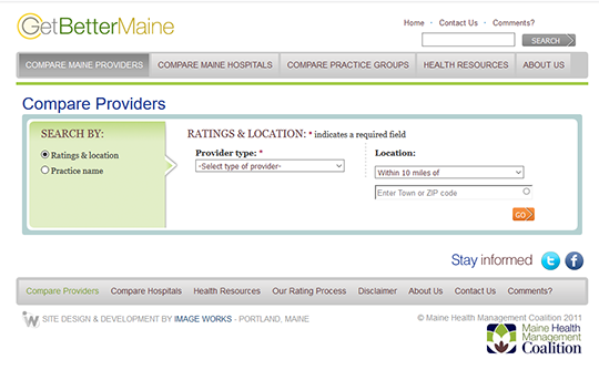 Get Better Maine Compare Doctors Report Card