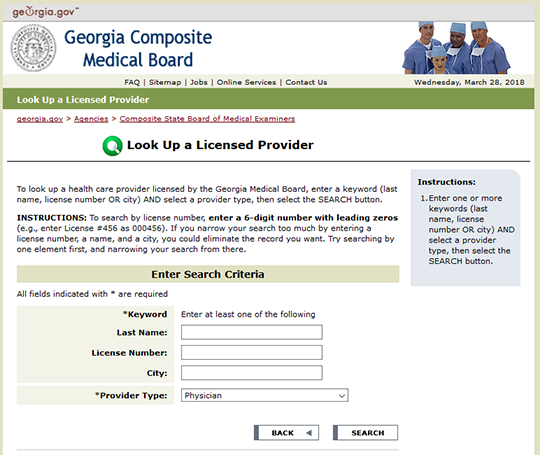 GCMB Look Up a Licensed Provider