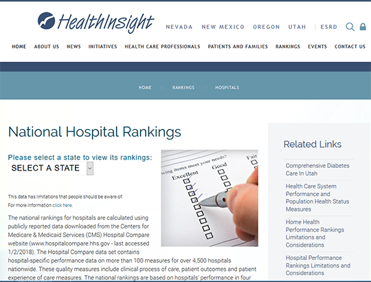 National Hospital Ranking - a report card by HealthInsight