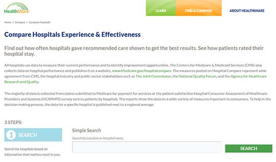 HealthShare Compare Hosptials Report Card