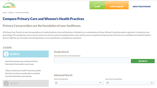 HealthShare - Compare Primary Care Practices