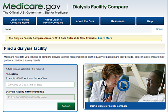 Medicare Dialysis Facility Compare report card