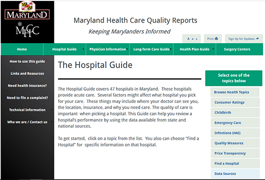 Maryland Health Care Quality Reports - Hospital Guide