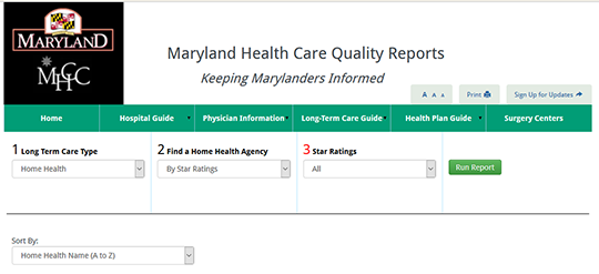 Maryland Health Care Quality Reports - Home Health Quick Compare