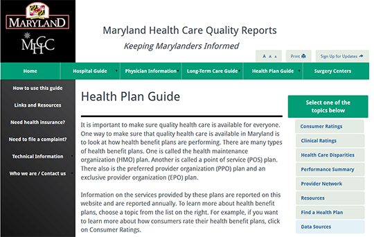 Maryland Health Care Quality Reports - Health Plan Guide
