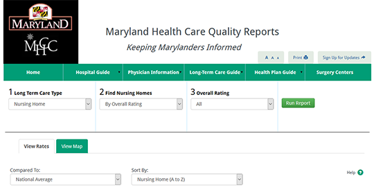 Maryland Health Care Quality Reports - Nursing Home Quick Compare