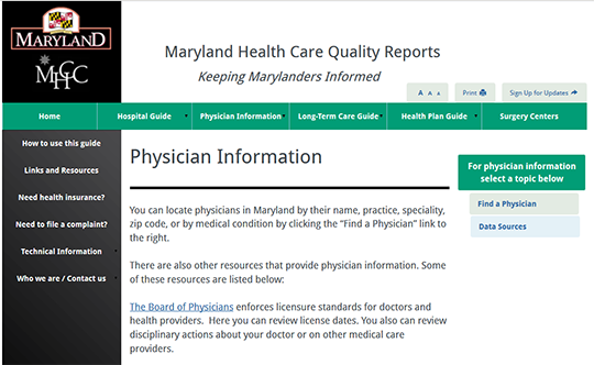 Maryland Health Care Quality Reports - Physician Information