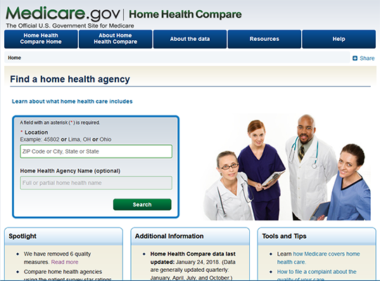 Medicare Home Health Compare report card