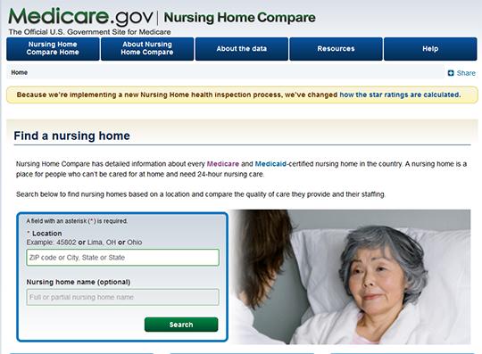 Medicare Nursing Home Compare report card