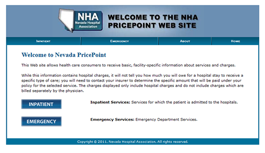 Nevada Hospital Association PricePoint Report Card