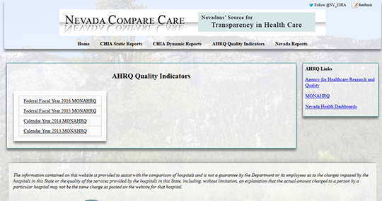 Nevada Compare Care Hospital Report Card