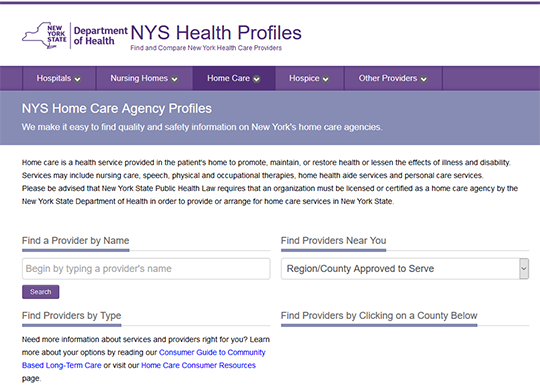 NYS Home Care Agency Profiles