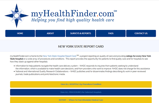 New York State Report Card - MyHealthFinder