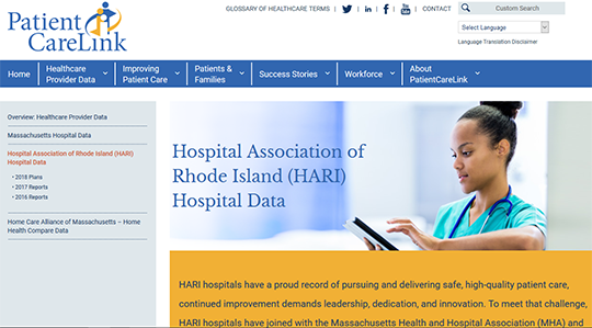 PatientCareLink Rhode Island Hospital Data