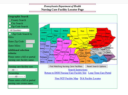 Pennsylvania Department of Health Nursing Home Facilities