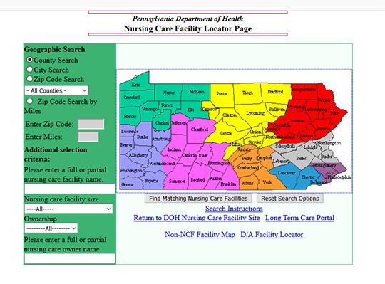 Pennsylvania Department of Health Nursing Home Facilities