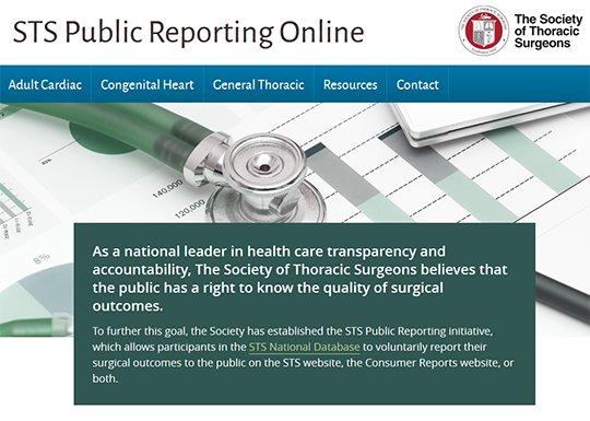 Society of Thoracic Surgeons Public Reporting Online
