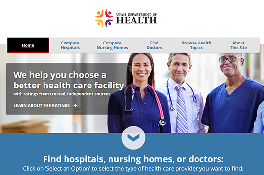 Utah Department of Health Compare Hospitals Nursing Homes Doctors Report Cards