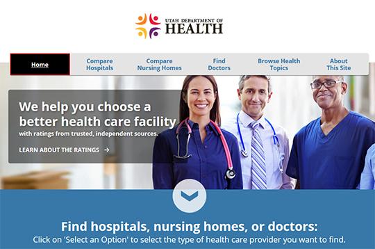 Utah Department of Health Compare Hospitals Nursing Homes Doctors Report Cards