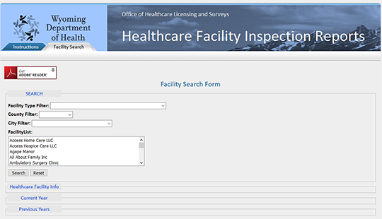 Wyoming Department of Health Healthcare Facility Inspection Reports