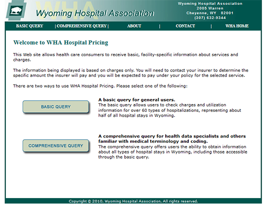 WHA Hospital Pricing
