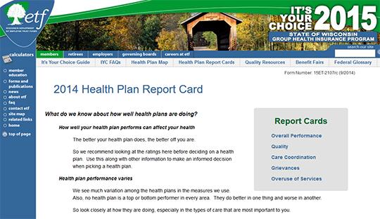 Wisconsin Health Plan Report Card