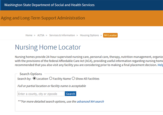Washington State Department of Social and Health services NH Locator