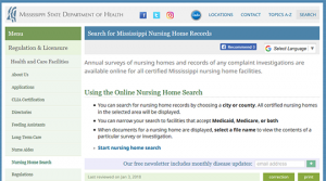 Mississippi Nursing Homes Records Search