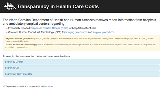 NC DHHS Transparency in Health Care Cost