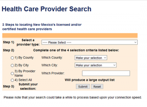 New Mexico Health Care provider search