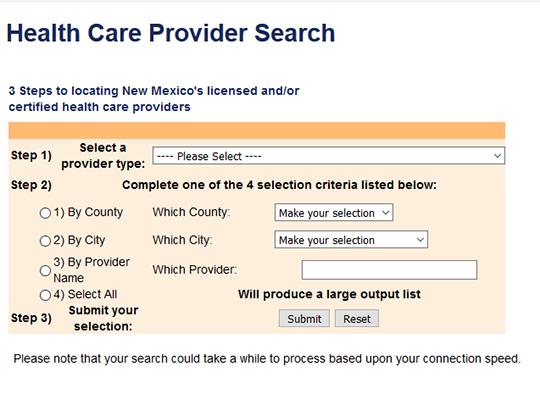 New Mexico Health Care provider search