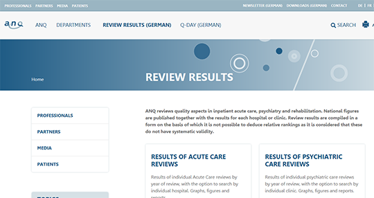 Results of acute care review of swiss hospitals