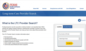 Texas Long term care providers search