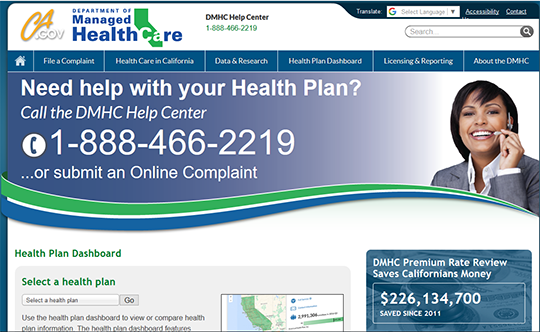 CA health plan dashboard
