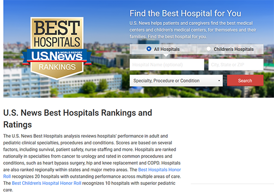 US news best hospitals ranking