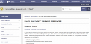 ISDH Healthcare Facilities Consumer Report