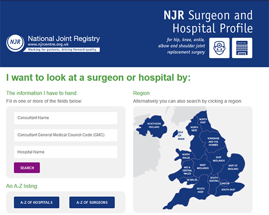 NJR Surgeon and Hospital Profile for England, Wales and Northern Ireland