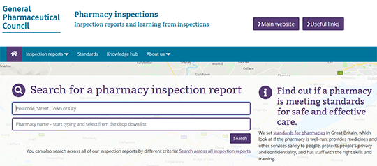 Pharmacy inspections for all pharmacies in Great Britain
