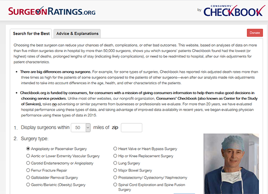 Surgeon ratings by Consumer Checkbook